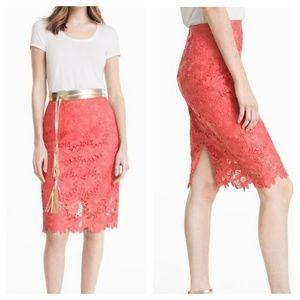 White House Black Market Floral Lace Pencil Skirt
